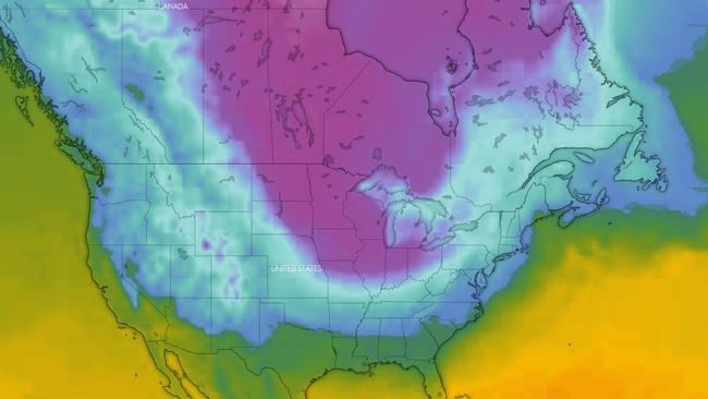 A polar vortex (in purple) has swept into the US and Canada bringing deadly conditions. Picture: Windy.