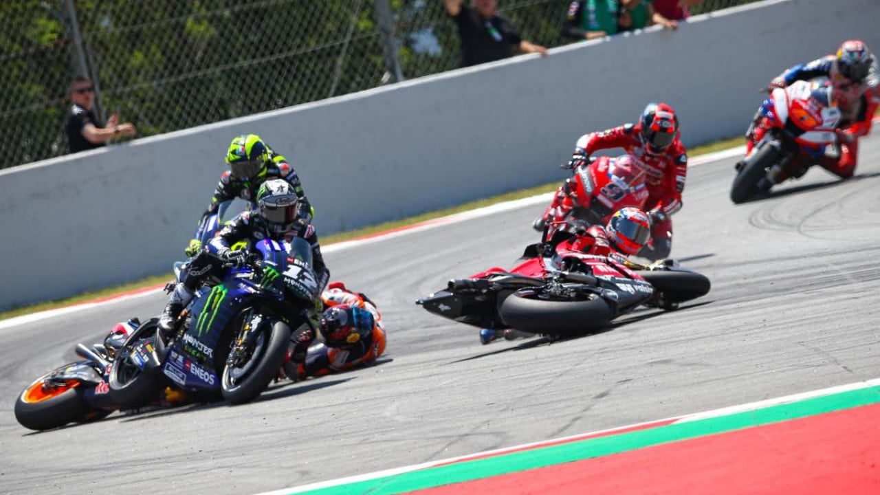 Both Yamahas get involved. Picture: MotoGP.com