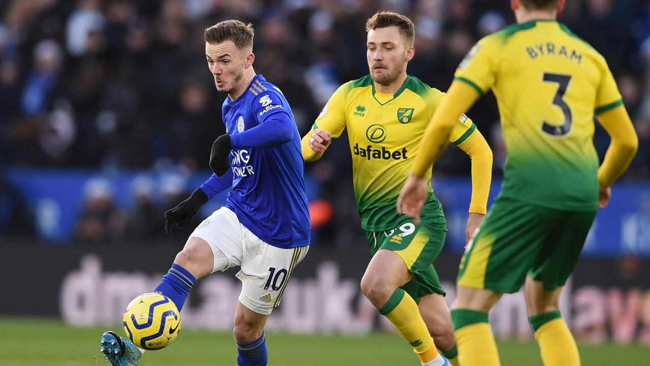 Leicester City's English midfielder James Maddison passes the ball