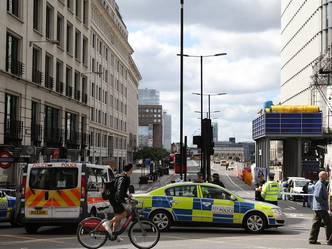 A large cordon is still in place around London Bridge. Picture: Dan Kitwood/Getty Images.