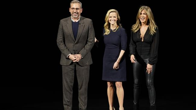 Steve Carell, Reese Witherspoon and Jennifer Aniston at Apple's TV announcement. Picture: Tony Avelar/AP