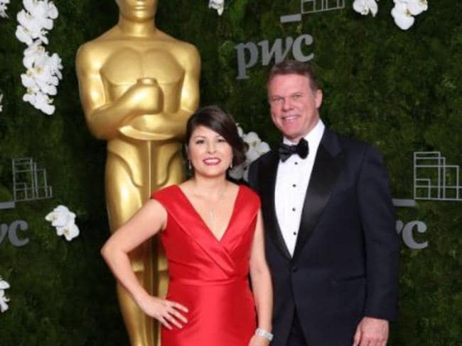 Representatives from PricewaterhouseCoopers, Martha L. Ruiz and Brian Cullinan at the Annual Academy Awards California. Picture: Twitter
