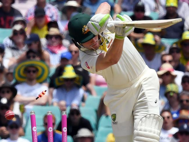 Cameron Bancroft is bowled by Stuart Broad at the SCG.