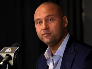 MIAMI, FL - OCTOBER 03: Miami Marlins CEO Derek Jeter speak with members of the media at Marlins Park on October 3, 2017 in Miami, Florida. (Photo by Mike Ehrmann/Getty Images)
