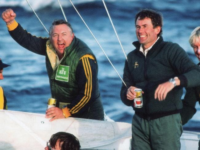 Alan Bond celebrates Australia II's victory in the 1983 America's Cup. Picture: Supplied by Maritime Productions for the Daily Telegraph.