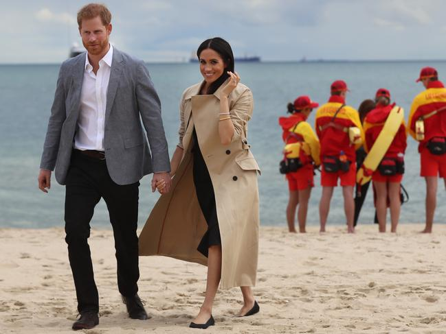 She appeared relaxed as she met volunteers from BeachPatrol with Prince Harry at South Melbourne. Picture: Alex Coppel