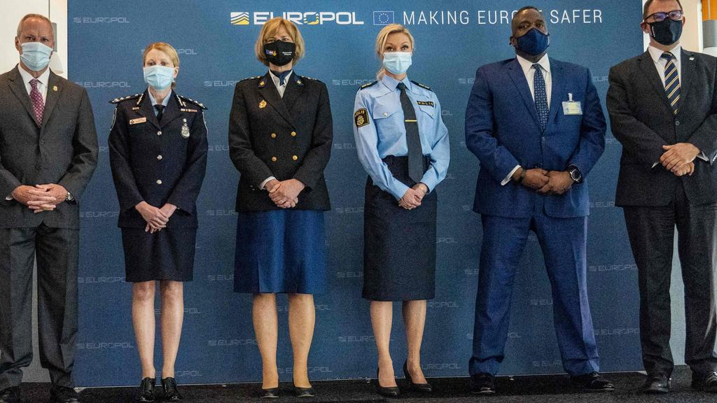 (LtoR) Drug Enforcement Administration Deputy Chief of Operations Matthew Donahue, Australian Federal Police Commander, Jennifer Hurst, Chief Constable of the Netherlands Police's Central Unit Jannine van den Berg, Police Commissioner, Head of Intelligence of the Swedish Police Linda H Staaf, Assistant Director, Criminal Investigative Division, US Federal Bureau of Investigation Calvin Shivers and Europol's Deputy Executive Director Jean-Philippe Lecouffe. Picture: Jerry Lampen