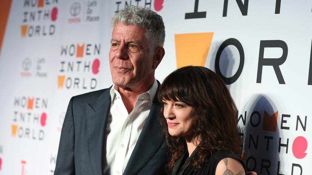 Anthony Bourdain and partner Asia Argento. Picture: ANGELA WEISS / AFP