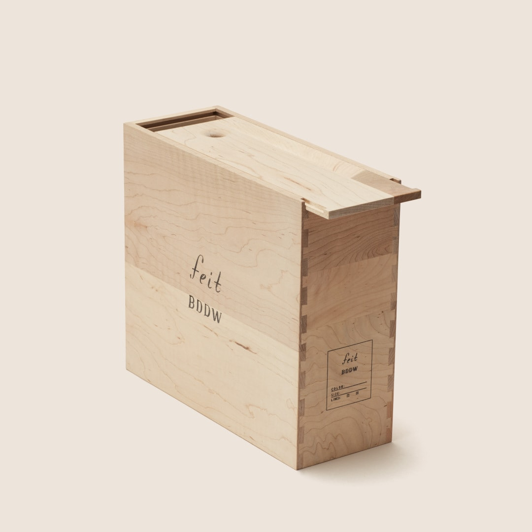 FEIT for BDDW/BDDW for FEIT's shoe collaboration includes a custom wooden box.