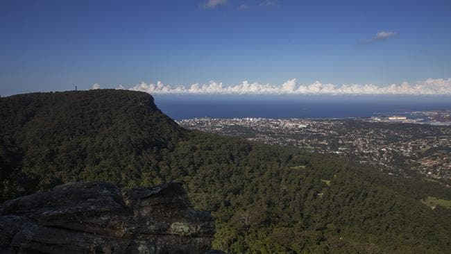 The bodies of Tanya Ludwig and her two-year-old daughter were recovered from the base of the cliff below Robertson's Lookout, at Mt Keira, near Wollongong, NSW. Picture: Justin Lloyd.