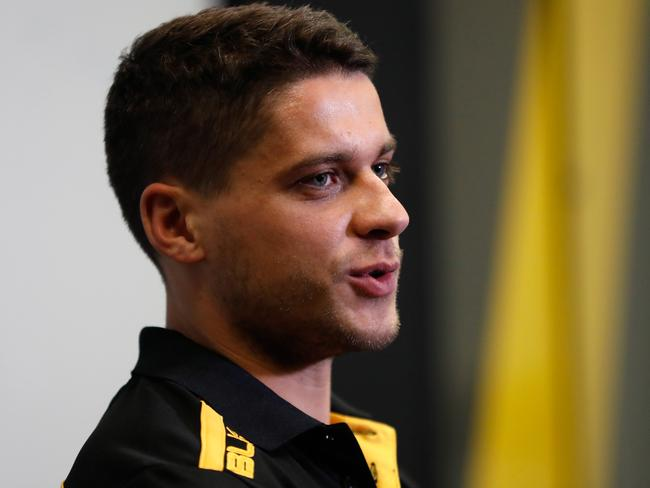 Dion Prestia speaks to the media after joining Richmond.