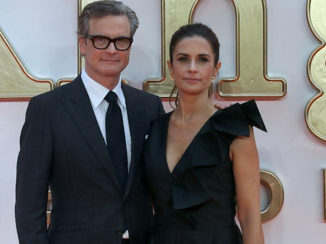 English actor, Colin Firth (L) poses with his wife Livia. Picture: Daniel LEAL-OLIVAS