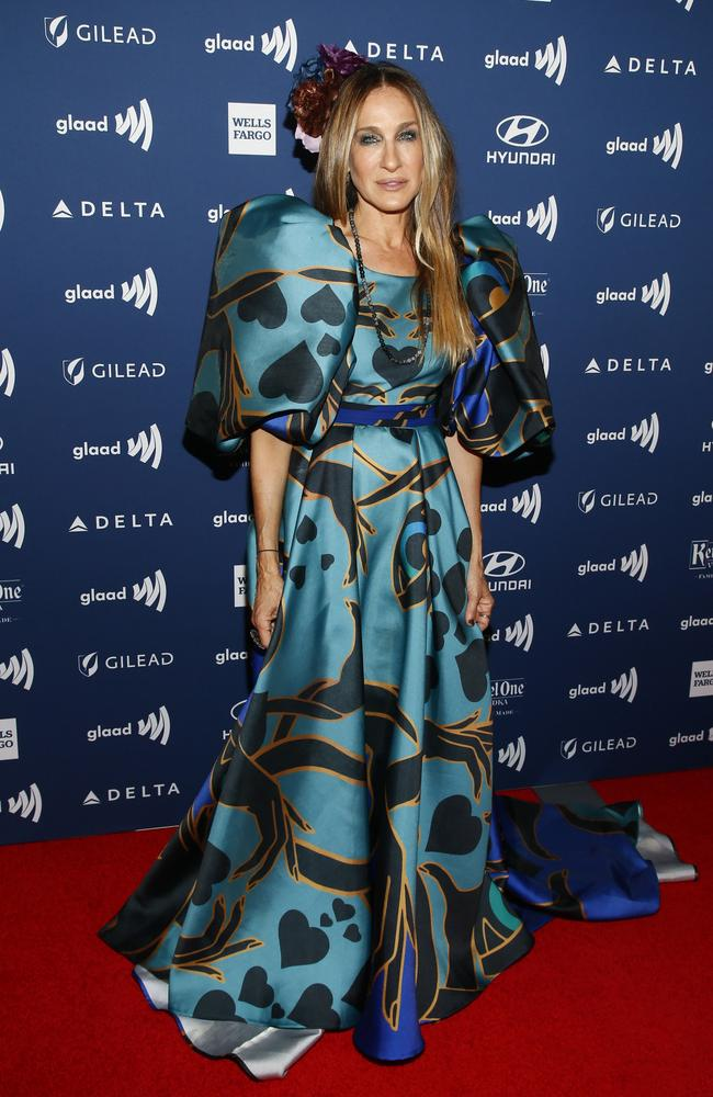 Into the blue! SJP at the GLAAD Media Awards in May. Picture: Getty Images