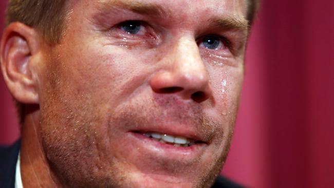 David Warner cries at his press conference.