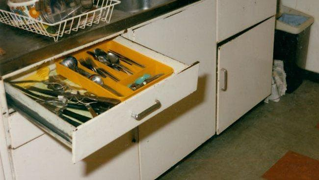 One of the kitchen drawers containing knives was left open as police examined the Barnard property for clues. Picture: HWT Library