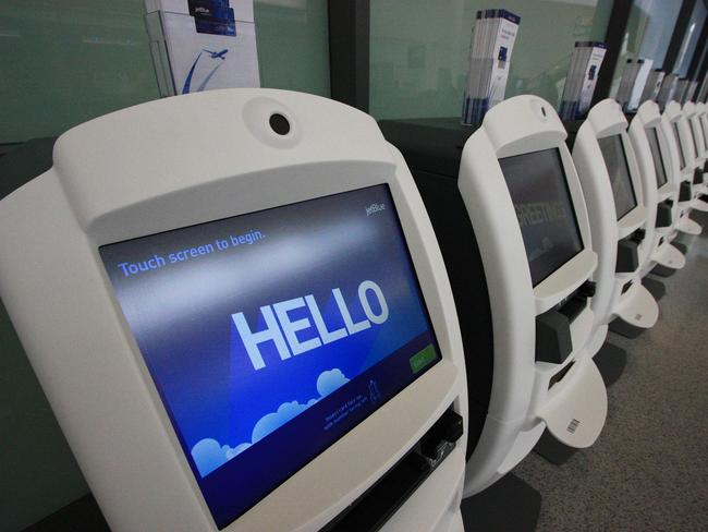 The JetBlue check-in desks. Picture: Ted Murphy