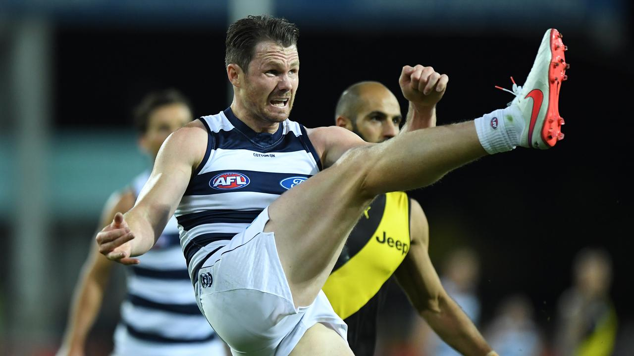 Patrick Dangerfield is Geelong's best Norm Smith medal hope, according to the odds. Picture: Matt Roberts