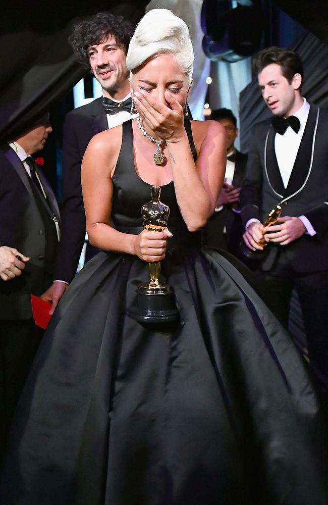 bd95486e23 Picture  Getty Lady Gaga poses with the Music (Original Song) award for   Shallow  from  A Star Is Born  backstage during the 91st Annual Academy  Awards.