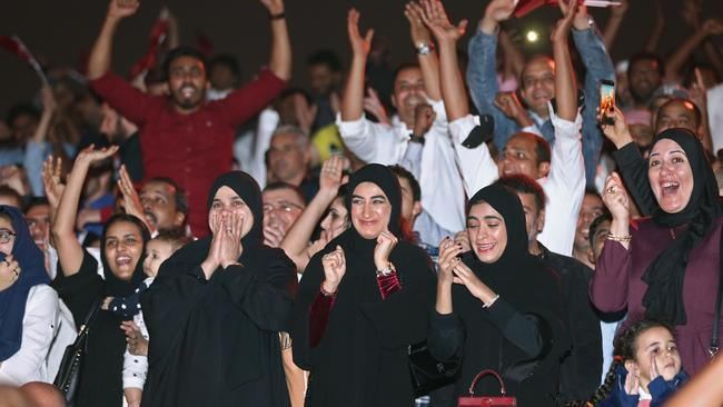 Qatari fans cheer after their national team defeated UAE to qualify to the final of the 2019 AFC Asian Cup. Picture: AFP