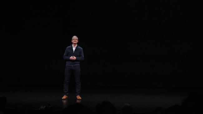 Tim Cook was all show biz at the New York launch. Picture: Apple. Source: Supplied