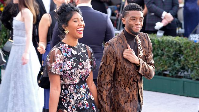 Taylor Simone and Chadwick Boseman attend the 25th annual Screen Actors' Guild Awards last year.