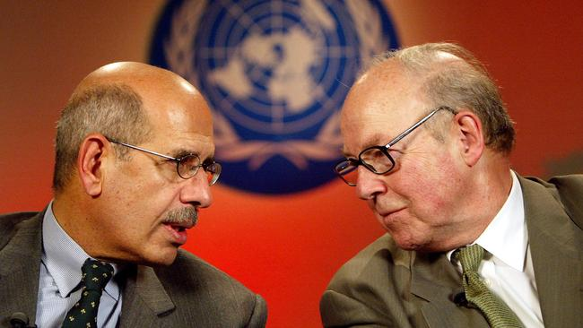 Chief of the International Atomic Energy Agency Mohammed El Baradei and Chief United Nations weapons inspector Hans Blix in 2003.