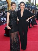 Brooke Satchwell and Jessica Tovey arrive on the red carpet for the 4th Annual AACTA Awards held at The Star in Pyrmont. Picture: Richard Dobson