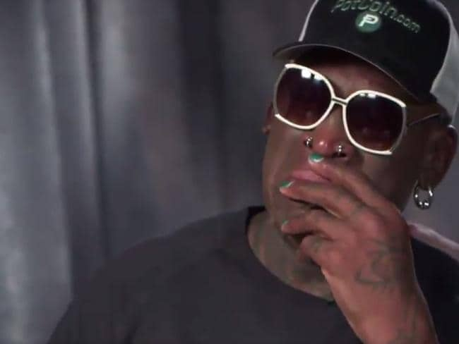 Dennis Rodman in tears during the interview.