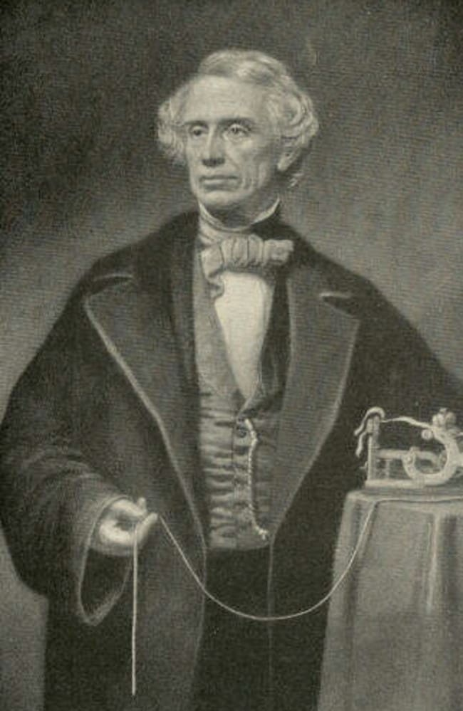 Samuel Morse with his invention, the telegraph.