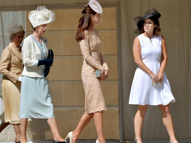 Birgitte, Duchess of Gloucester, Princess Anne, Princess Royal, Catherine, Duchess of Cambridge, and Princess Eugenie at a garden party at Buckingham Palace. Picture: AFP