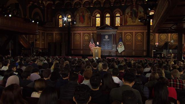 The crowd at Georgetown University who packed in to see Facebook CEO Mark Zuckerberg deliver his 37-minute treatise on free speech and expression.