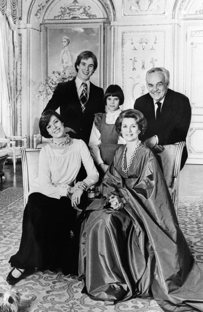 Princess Grace and Prince Rainier with their children Albert, Caroline and Stephanie in a portrait taken in 1976. Picture: AFP