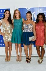 Olympic gymnasts Aly Raisman, Madison Kocian, Laurie Hernandez and Simone Biles attend the 2016 MTV Video Music Awards at Madison Square Garden on August 28, 2016 in New York City. Picture: Jamie McCarthy/Getty Images/AFP
