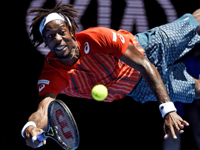 Monfils was lucky to escape with minor injuries after this spectacular effort.