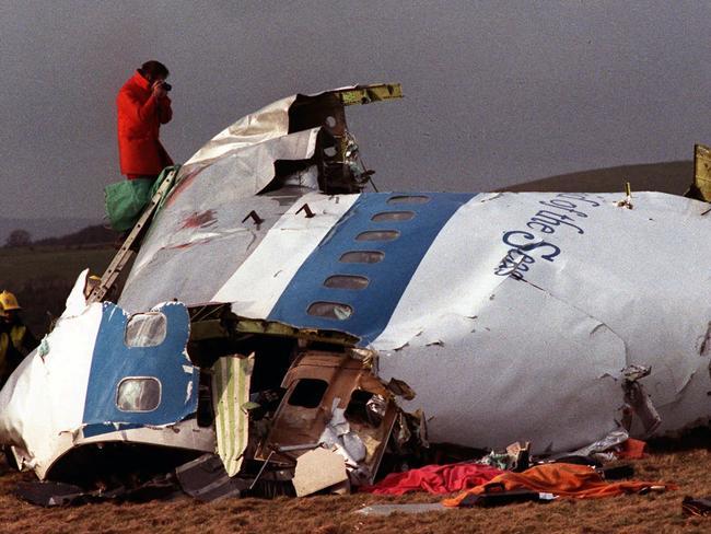 The wreckage of Pan Am 103 on a field in Lockerbie, Scotland. Picture: AP