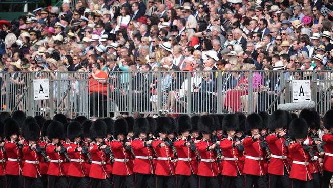 Members of the queen's personal troops, the Household Division march at The Royal Horseguards during Trooping The Colour ceremony. Picture: Getty
