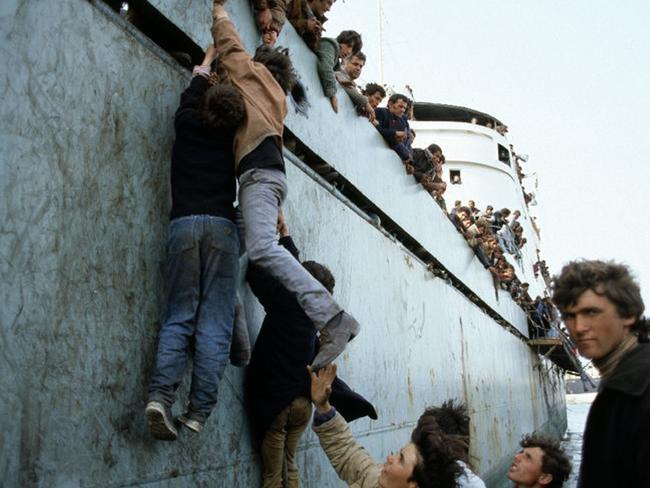 Incredible scenes at Bari, Italy, in 1991. Picture: Fernando Scianna/Magnum Photos/Snapper Media