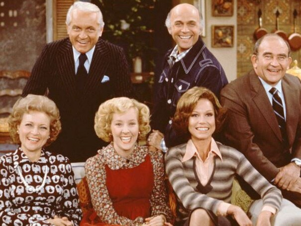 Georgia Engel, front centre, with Betty White and Mary Tyler Moore in The Mary Tyler Moore Show. Picture: Supplied