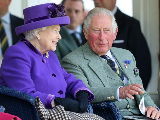 The Queen and Prince Charles at the Highland Games. Picture: Getty Images