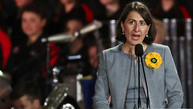 Gladys Berejiklian speaks on stage during the Invictus Games opening ceremony in Sydney. Image: AAP/Brendon Thorne.