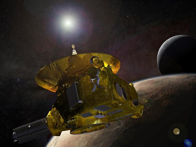 An artist's concept of the New Horizons spacecraft as it approached Pluto and its largest moon, Charon, in July 2015. Picture: EPA/NASA