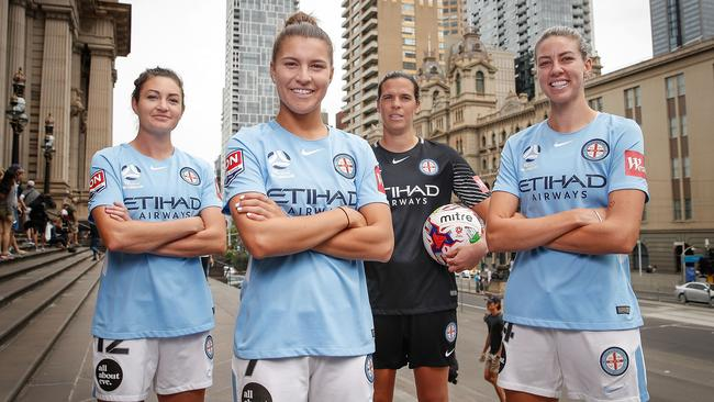 City players Lydia Williams, Steph Catley, Alanna Kennedy and Jodie Taylor pose. (Photo by Scott Barbour/Getty Images)
