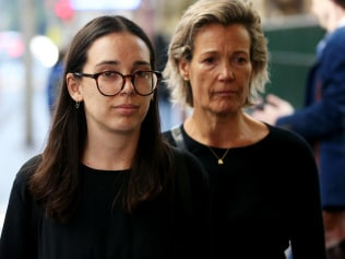 Rose Helena Thomas leaves Central Local Court with her mother Jackie Maxted after a short hearing where she is being charged in relation to a plot to import $21 million worth of amphetamines hidden in audio speakers from Mexico. Picture: Toby Zerna
