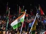 Athletes are seen before the start of the closing ceremony of the XXI Commonwealth Games on the Gold Coast. (AAP Image/Dan Peled)