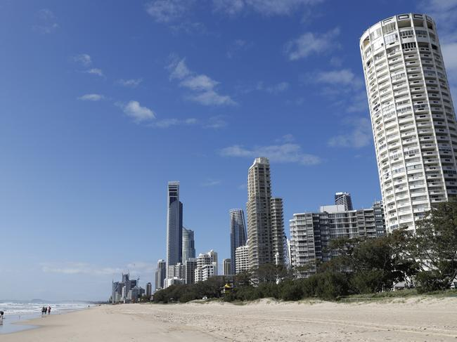 The Surfers Paradise beach where the body of an infant was found on Monday. Picture: AAP Image/Regi Varghese.