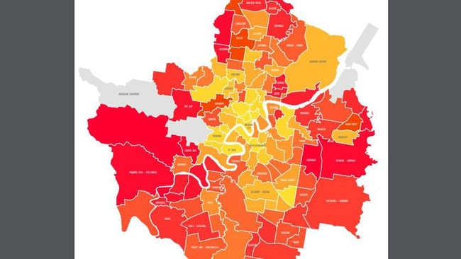 Proportion of households in each suburb that are 55-64 years old, with red being the highest levels 20 per cent, orange 10 per cent and yellow being single digit percentages. Source: Place Design Group.