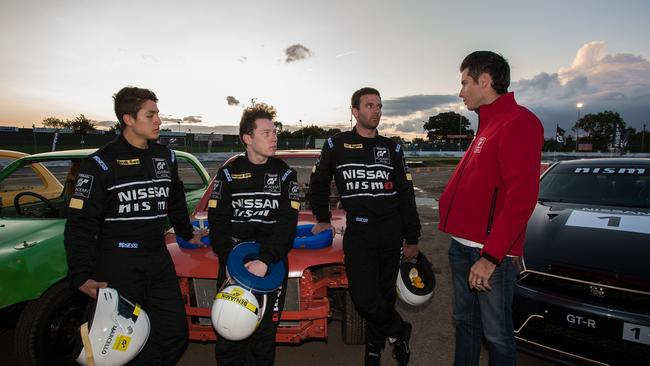 Rivera, Smith and Muggleton talking to Rick Kelly after the Micra challenge.