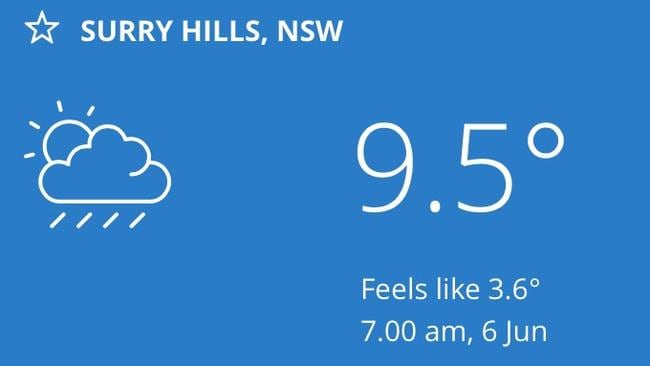 Inner city Sydney felt a lot colder this morning than it actually was. Picture: Bureau of Meteorology app