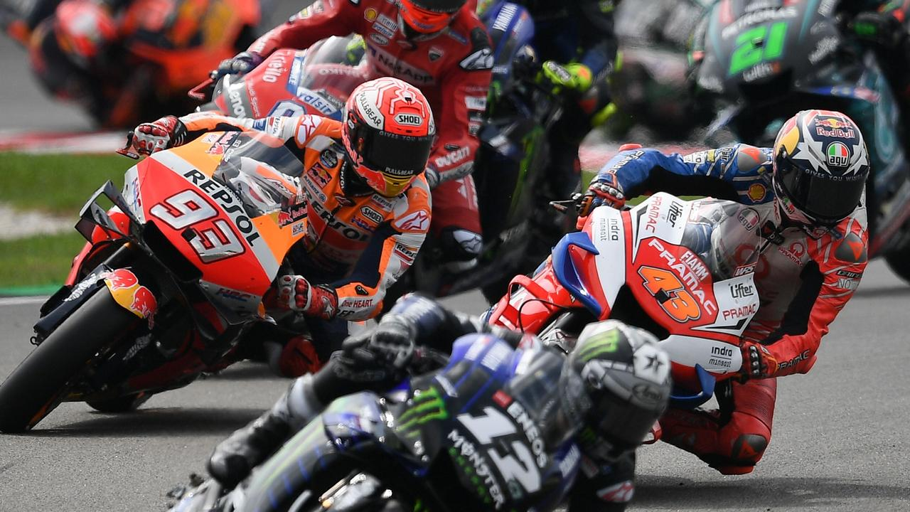 Marquez came from nowhere on the 93 at the start. Picture: Mohd Rasfan