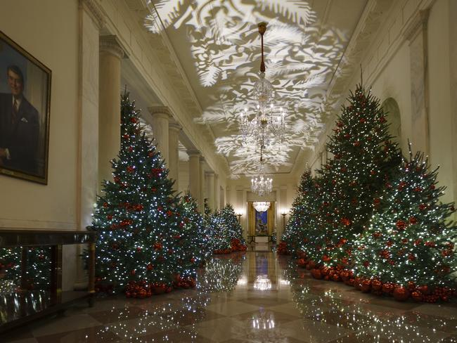 Trees line the Cross Hall inside the White House. Picture: AP/Carolyn Kaster